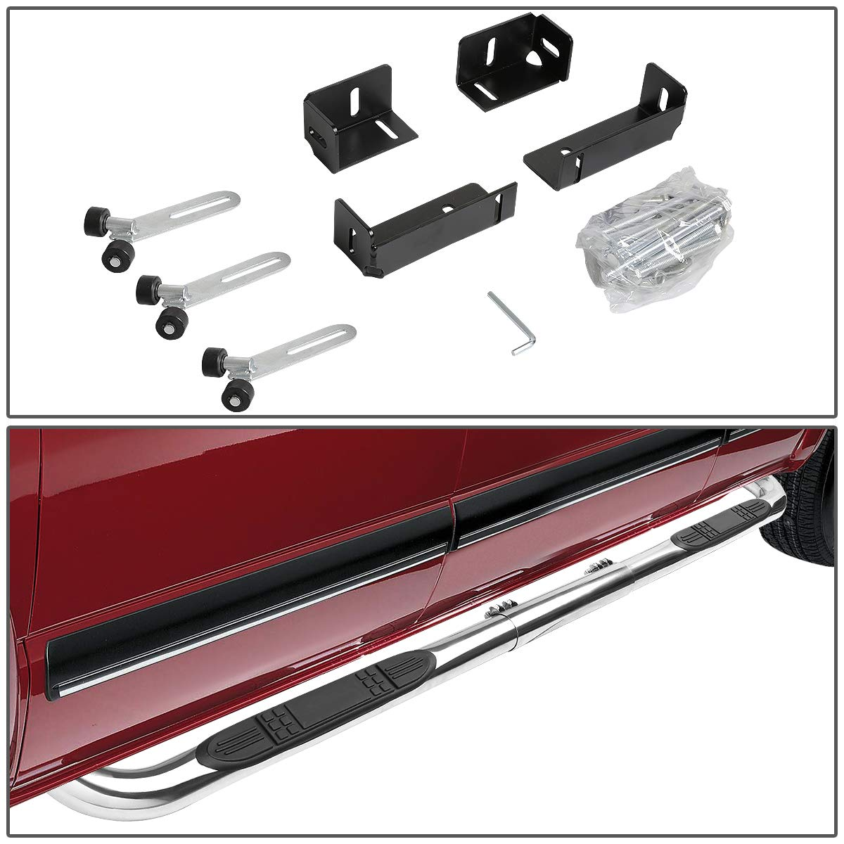Stainless Steel 3 inches Side Step Nerf Bar Running Board (Chrome) by Auto Dynasty (Image #4)