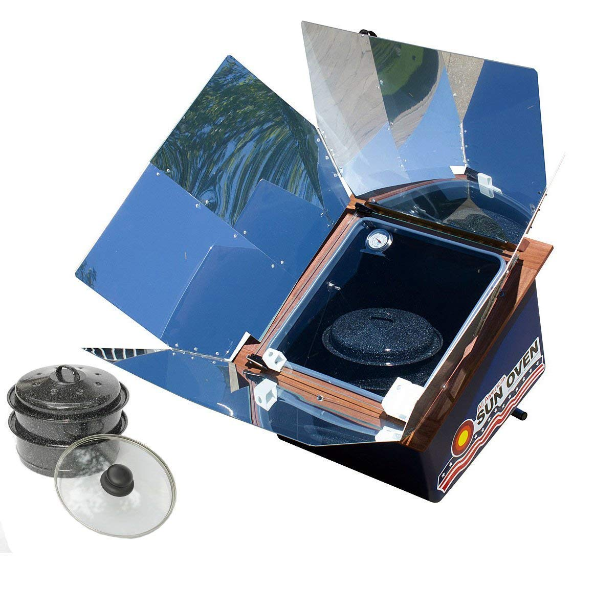 All American Sun Oven- The Ultimate Solar Appliance with Bonus Set of Two Easy Stack Pots with Interchangeable Enamel and Glass lids with Outdoors Equipments Extended Warranty