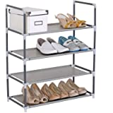 WOLTU SR0007 Non-woven Fabric and Steel Tube 4 tier Shoe Rack Cabinet Grey for Shoes Standing Storage Organizer 60x28x71cm