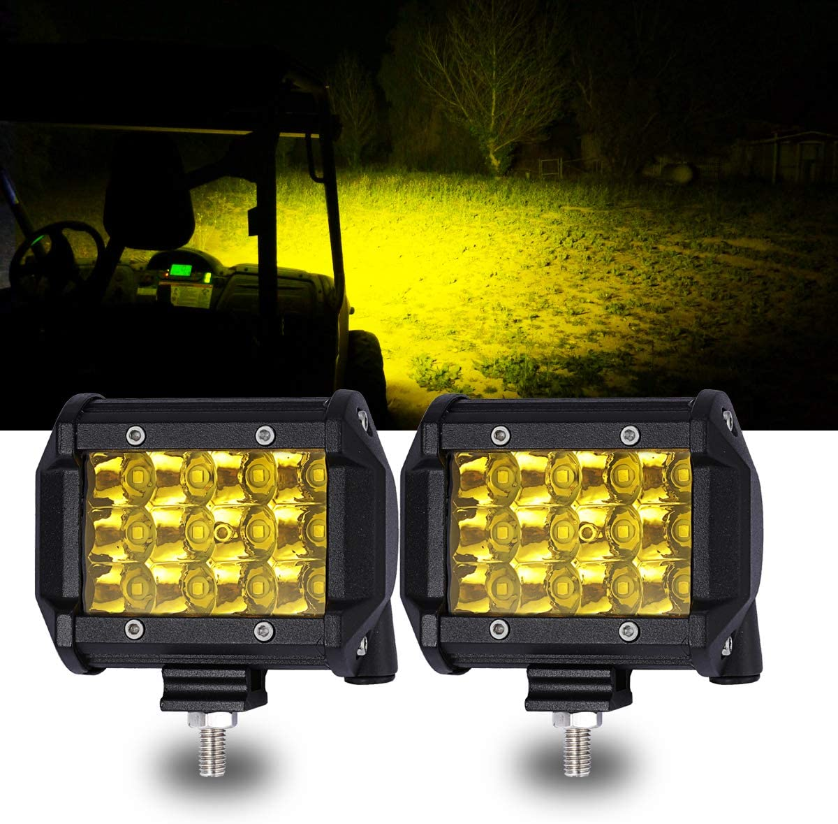 samman 6Inch Yellow LED Light Bar 18W 3000K Spot Light Amber Single Row Driving Off Road Fog Light for Trucks Boat Camping Tractor ATV UTV SUV Jp 2PCS