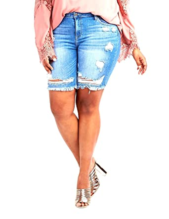 e3e13bc193a Cello Women s Plus Size Distressed Curvy Denim Jean Ripped Bermuda Short  with RAW Hem at Amazon Women s Jeans store