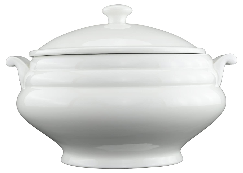 Tannex White Tie Soup Tureen with Lid, White 94131