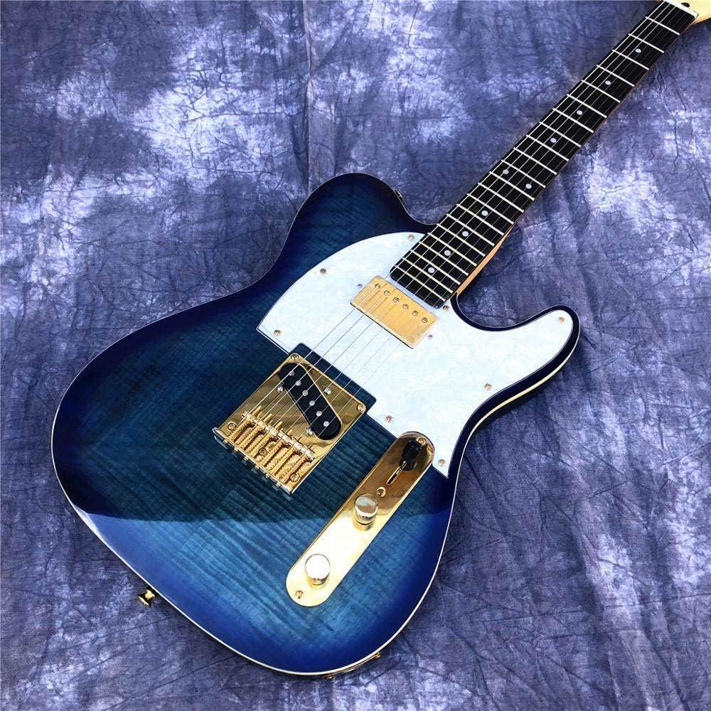 ABMBERTK , Guitarra, Blue Flame Maple, Guitarra eléctrica TL, Cuerpo de Madera Maciza, mástil de Arce, Guitarra con herrajes Dorados, 40 Pulgadas