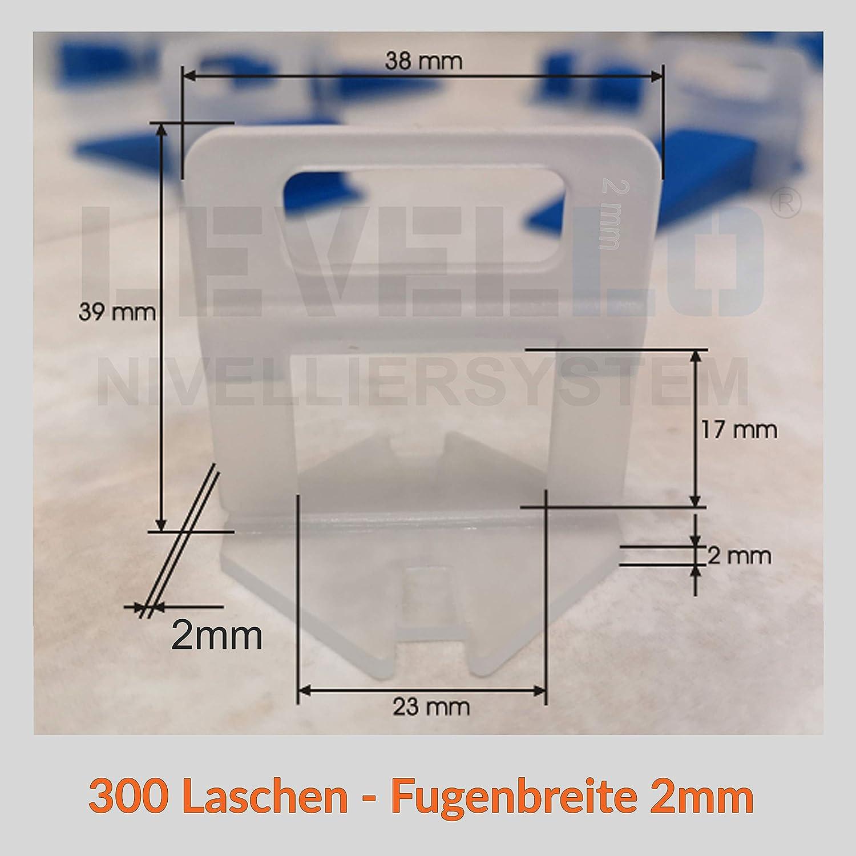 praktisches geschenk Zuglaschen Nivelliersystem Verlegen Fliesen Nivellierhilfe Levello 2mm Verlegehilfe f/ür Fliesen H/öhe 3-12 mm 2000 St/ück Standard Laschen Fugenbreite 2mm