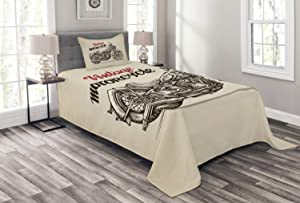 Ambesonne Motorcycle Bedspread, Hand Drawn Chopper Style Bike with Sketch Details Free Spirit of The Rider, Decorative Quilted 2 Piece Coverlet Set with Pillow Sham, Twin Size, Beige Brown