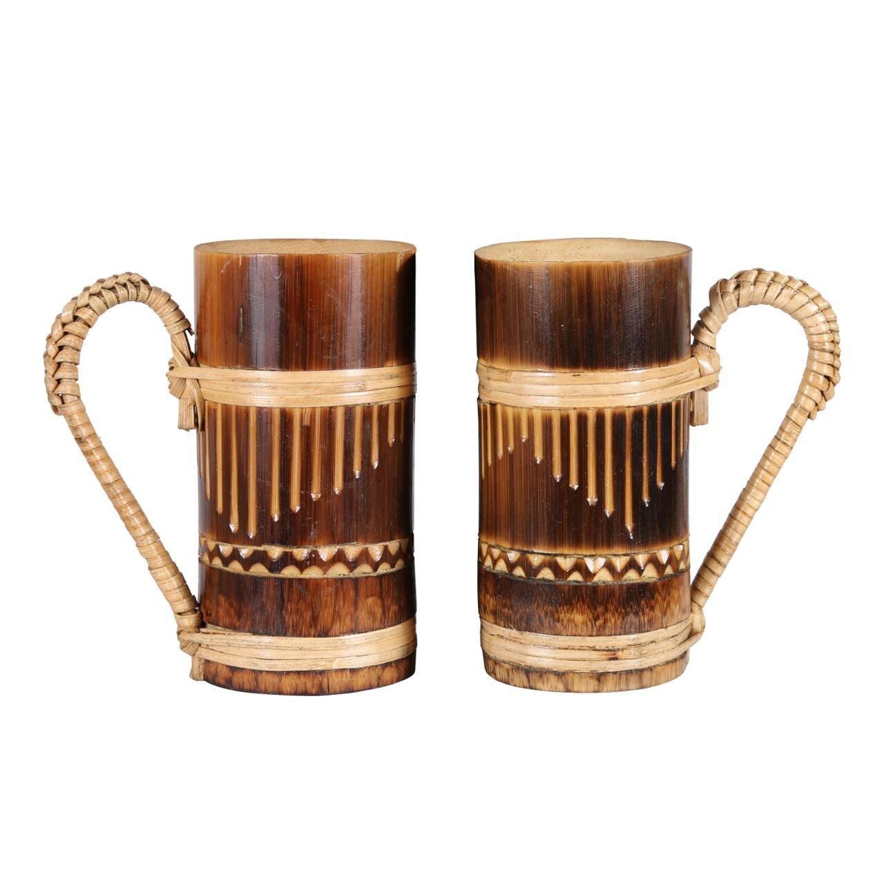 i-Fork BAMBOO DRINKING MUG   100% NATURAL   TRADITIONAL   HANDICRAFT   DRINKING TEA, COFFEE   SET OF 2