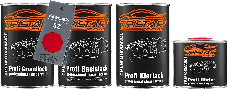 Tristarcolor Motorradlack Set Dose Spritzfertig Für Kawasaki 5z Firecracker Red Grundlack Basislack 2k Klarlack 3 5l Auto
