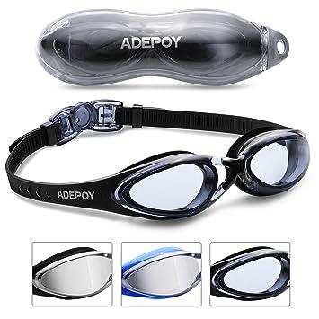 AdePoy Gafas de natación antiniebla transparente con protección UV, sin fugas, fácil de ajustar