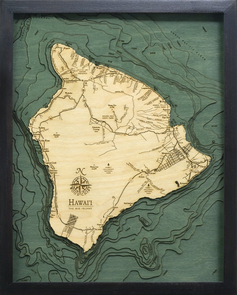 Hawaii (The Big Island) 3-D Nautical Wood Chart, 16'' x 20''