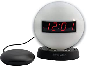 Sonic Alert Soft White Alarm Clock Nightlight | Soft Ambient Light for Children in The Dark | Recordable Alarm w/Vibrating Alarm Clock for Heavy Sleepers, Battery Backup | Wake with a Shake