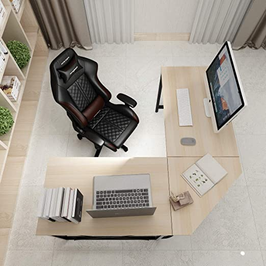 DlandHome L Escritorio de la computadora Gaming Mesa 150cm + 150cm ...