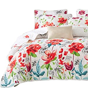 Uozzi Bedding 3 Piece King Reversible Floral Quilt Set White Red Green Colorful Soft Microfiber Lightweight Summer Coverlet Red Flowers Adult Bedspread for All Season -1 Quilt +2 Pillow Shams