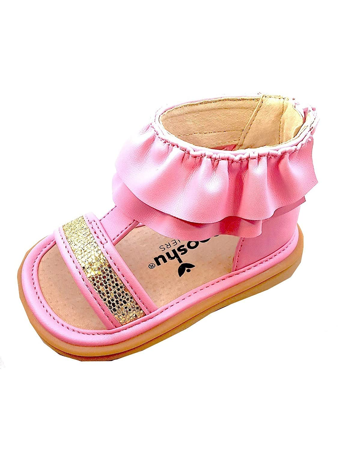 pretty nice b0b26 81e6c Amazon.com   Mooshu Trainers Little Girls Pink Ruffle Zip Squeaky Lucy  Sandals 5-9 Toddler   Sandals