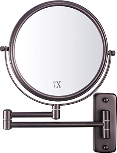 DECLUTTR Wall Mounted Makeup Mirror with 7X Magnification, 8 Inch Double Sided Vanity Magnifying Mirror for Bathroom, Oil-Rubbed Bronze