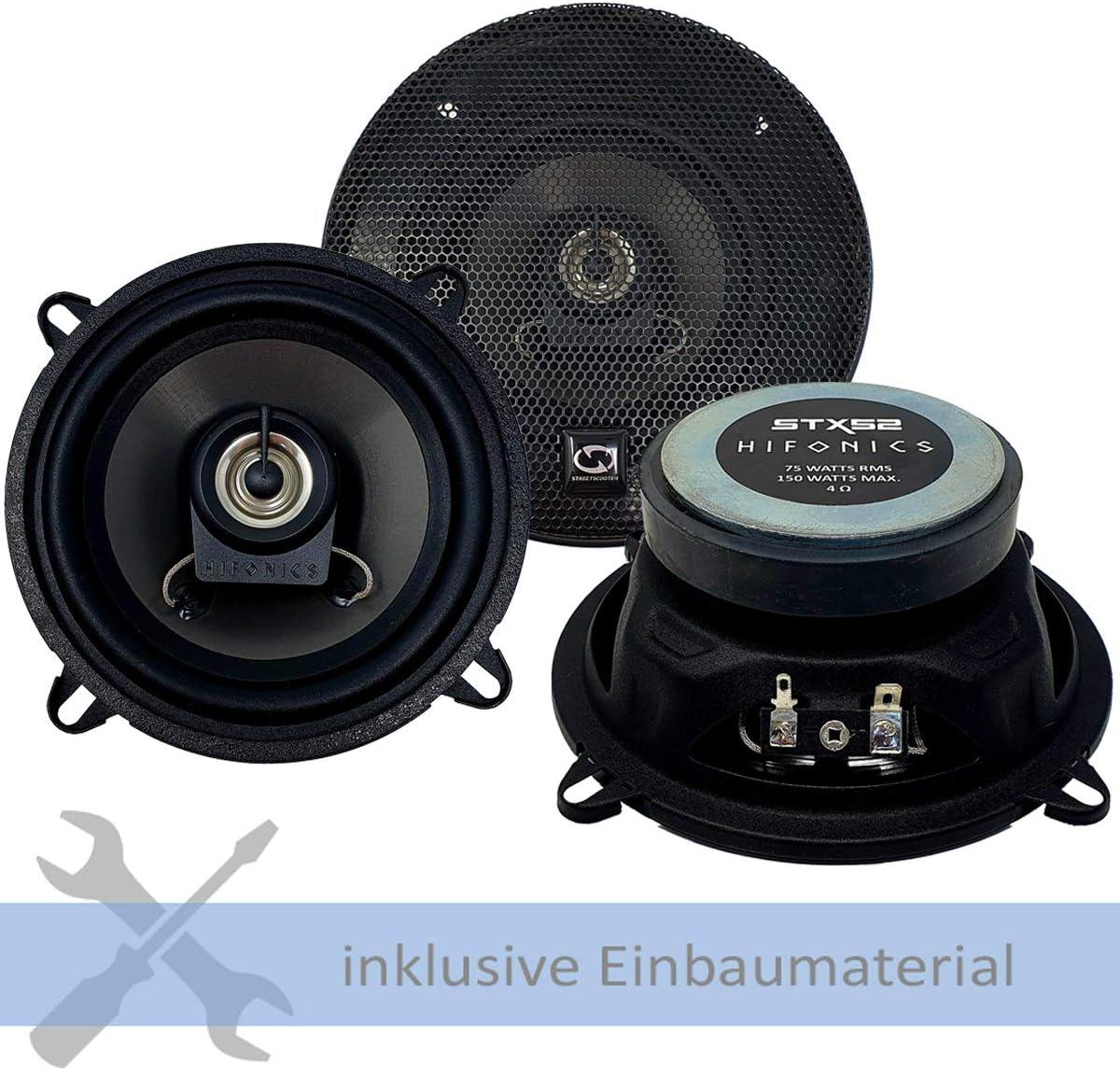 ab 2008 T/üren Front FW//KW Hifonics Lautsprecher STX-52 300W 130 mm 2 Wege Koax passend f/ür Renault Kangoo