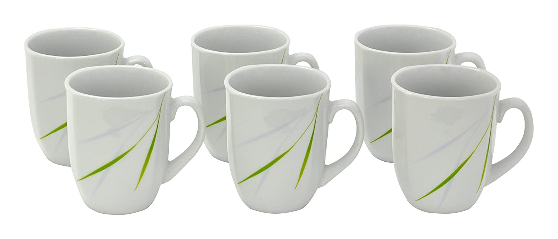 6er Kaffeebecher Bali 33cl Porzellan Geschirr grün Liniendekor Becher Kaffee