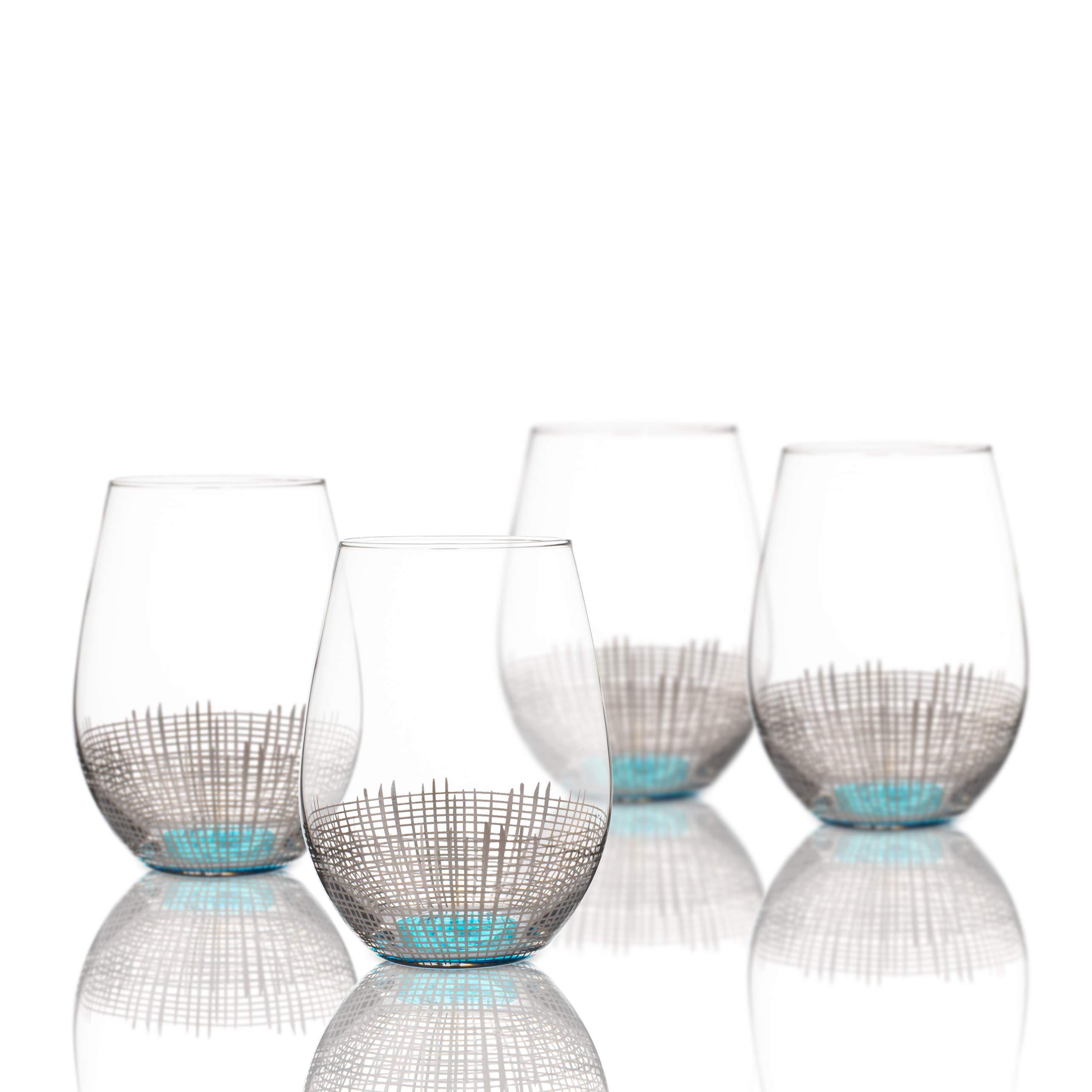 Fitz and Floyd 229141-4ST Annalise Stemless Goblets, 3.75x4.9'', Silver/Light Blue