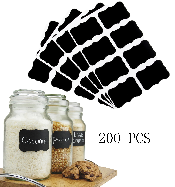 JOKHOO Reusable Blackboard Stickers for the Kitchen, Pantry, Mason Jars, Wine Glasses 200PCS (Black)