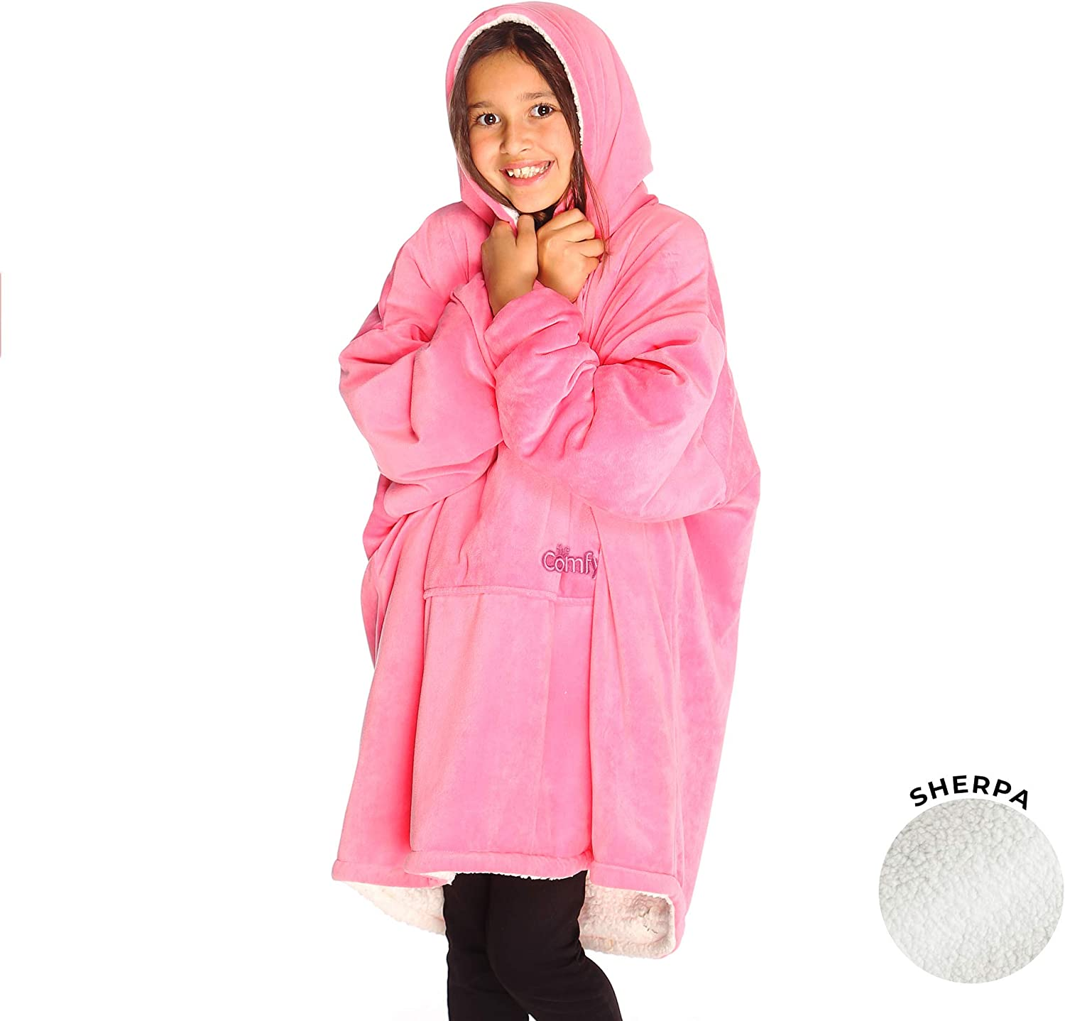 THE COMFY | The Original Oversized Sherpa Blanket Sweatshirt for Kids, Seen On Shark Tank, One Size Fits All Pink