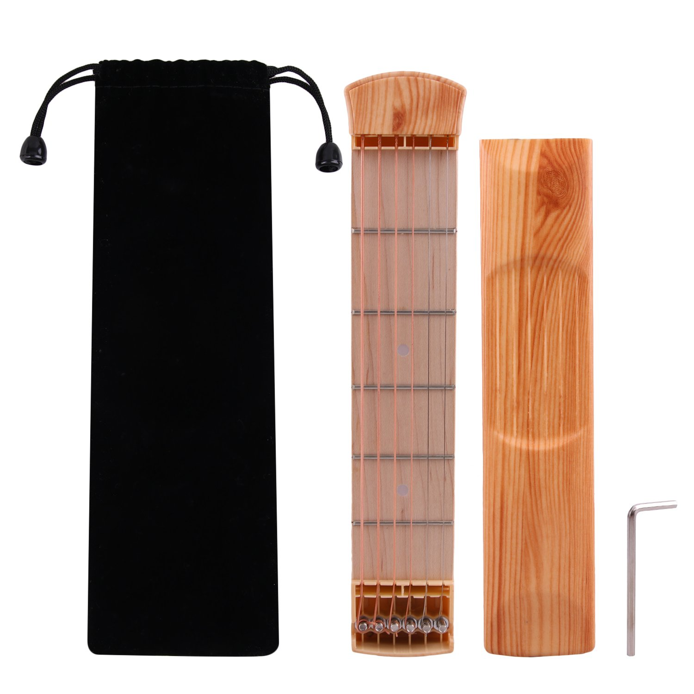 Pocket Guitar Wood Color 6-String 6 Fret Portable Guitar Practice Tool for Beginner Chord Fingering Practice