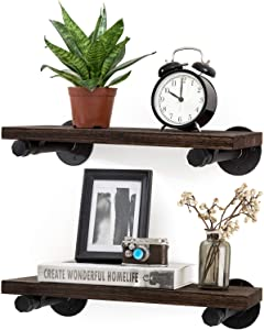 Mkono Floating Shelves with Industrial Pipe Brackets Rustic Set of 2, Wall Mounted Wood Shelving Storage Home Decor for Living Room Bedroom Bathroom Kitchen Office, Brown