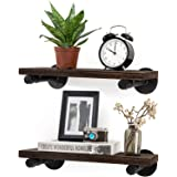 Mkono Floating Shelves with Industrial Pipe Brackets Rustic Set of 2, Wall Mounted Wood Shelving Storage Home Decor for…