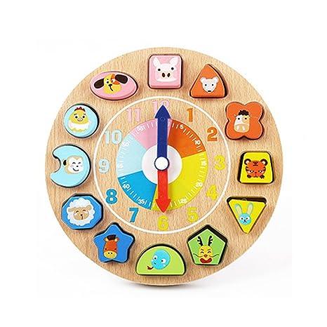 AiSi - Reloj digital de madera con forma de reloj para ordenar juguetes