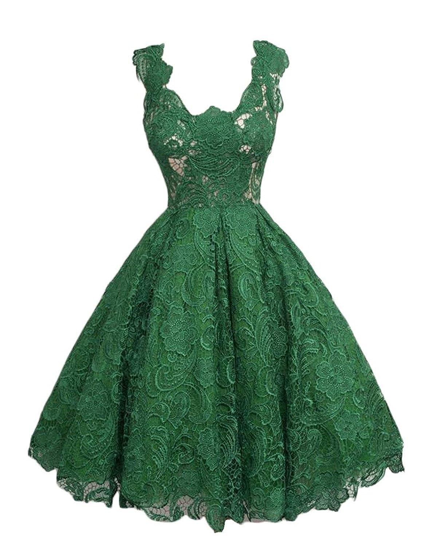 Green Caissen Women's Knee Length Lace Appliques Satin Ball Gown Square Neck Zipper Cocktail Dress Party Wear Dance Gown