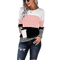 Womens Loose Color Block Tunics Long Sleeve T Shirts Casual Comfy Tops