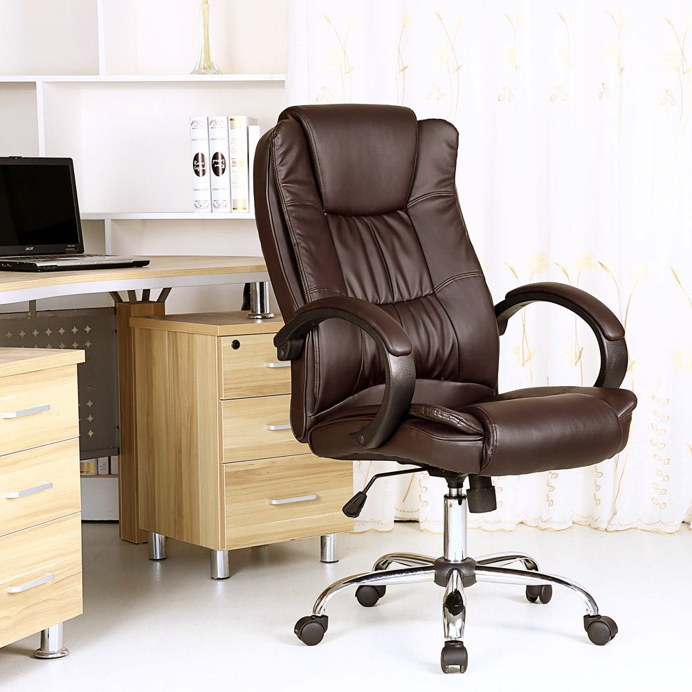 santana brown high back executive office chair faux leather swivel
