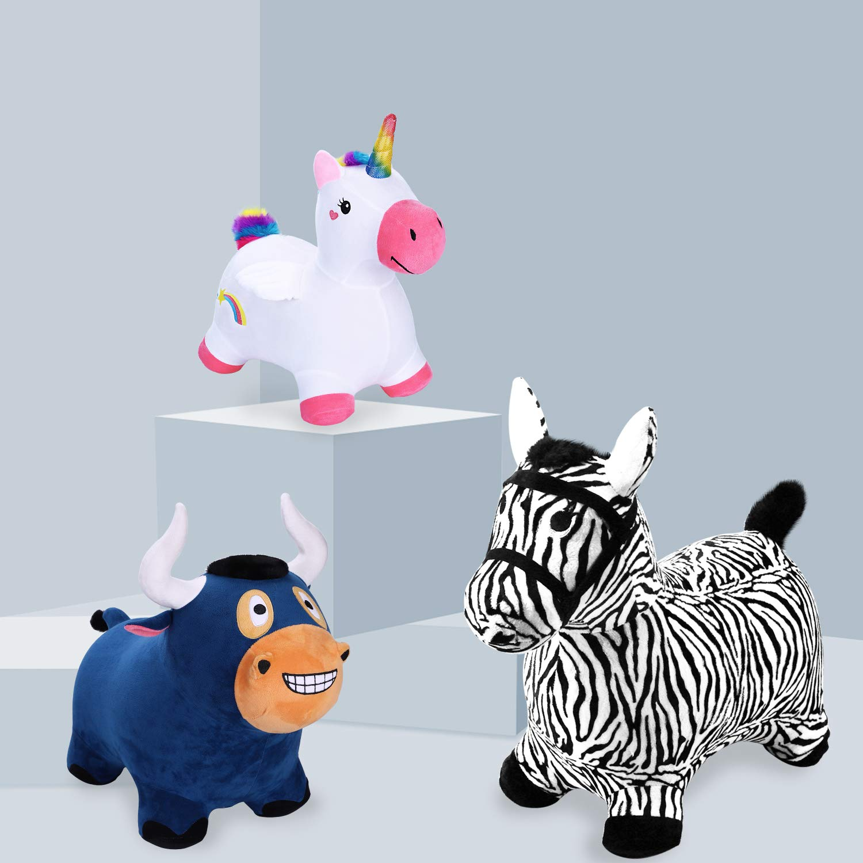 iPlay, iLearn Zebra Bouncy Animal, Hopping Horse, Inflatable Hopper, Indoor Outdoors Kindergarten Ride On Toy, Birthday Activities Gift for 2, 3, 4, 5 Year Old Kids Preschool Toddlers Boys Girls by iPlay, iLearn (Image #6)