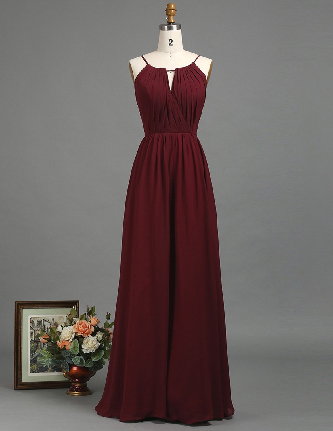 Burgundy Chiffon Long Bridesmaid Dress with Ruched V Neck And Halter Adjustable Strap Maxi Dress Empire Waist
