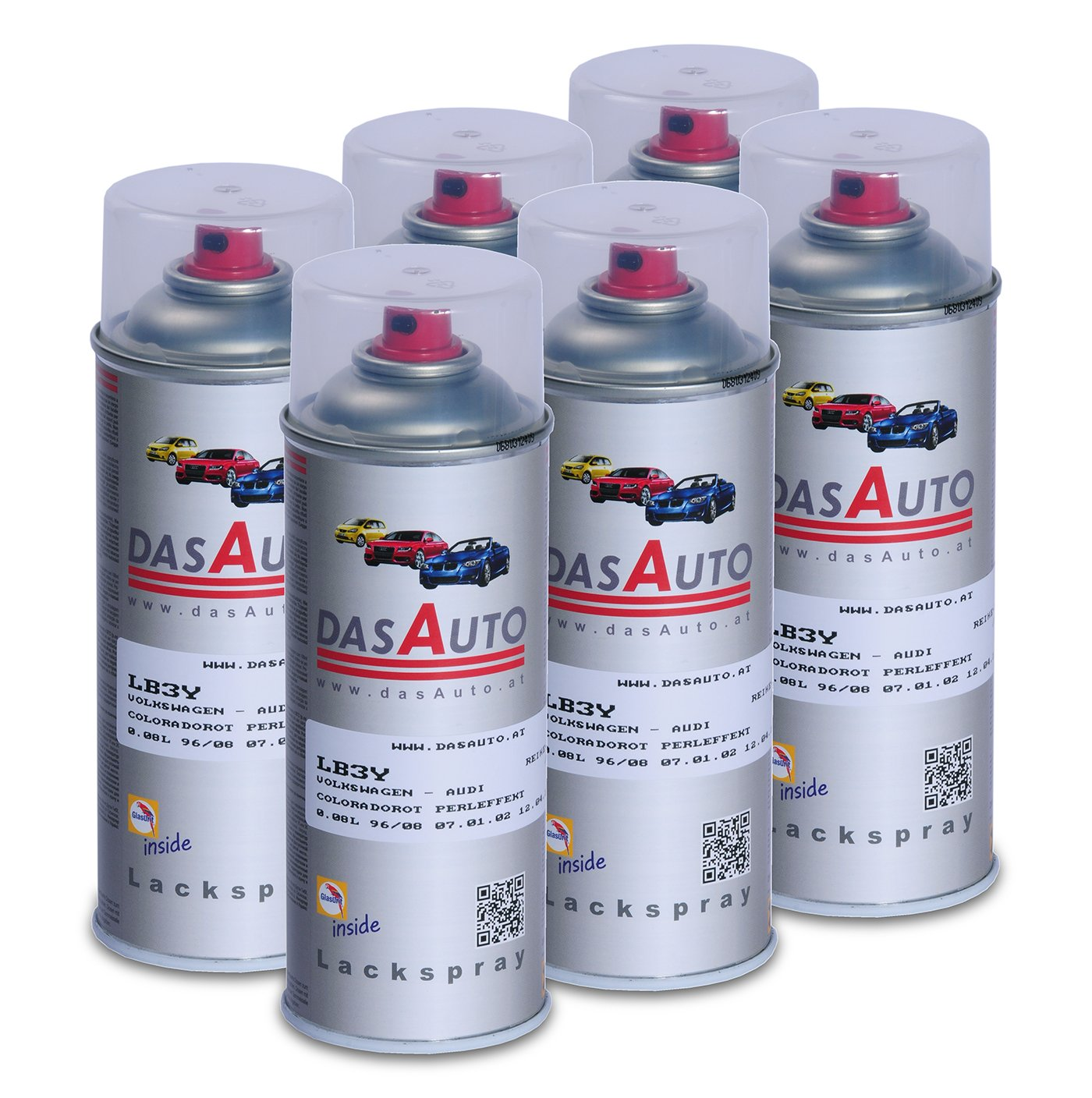6 x dasauto Vernis Spray glasurit série 55 Inside 400 ml