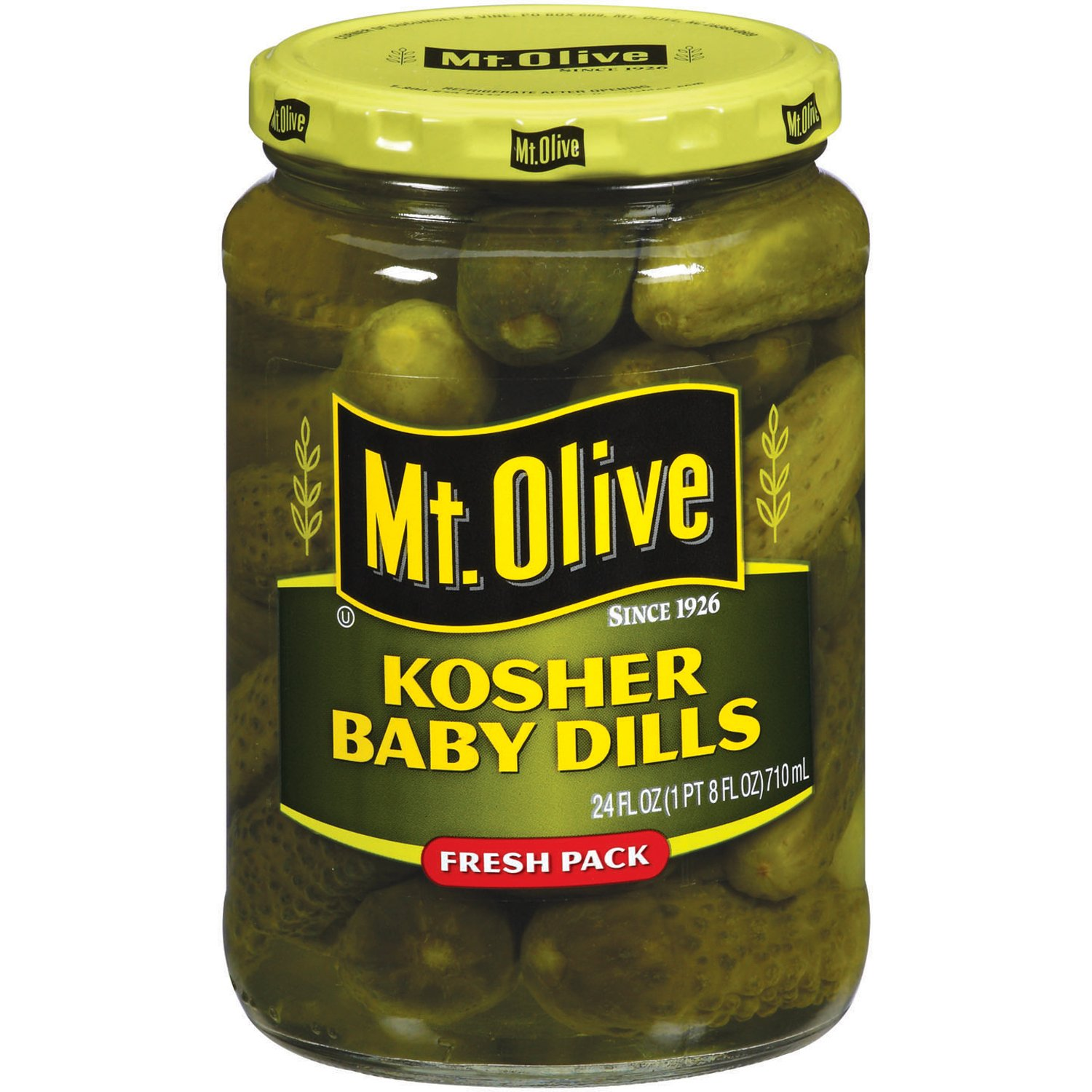 Amazon.com : MT. Olive Kosher Baby Dills Fresh Pack Jar, 24 oz ...