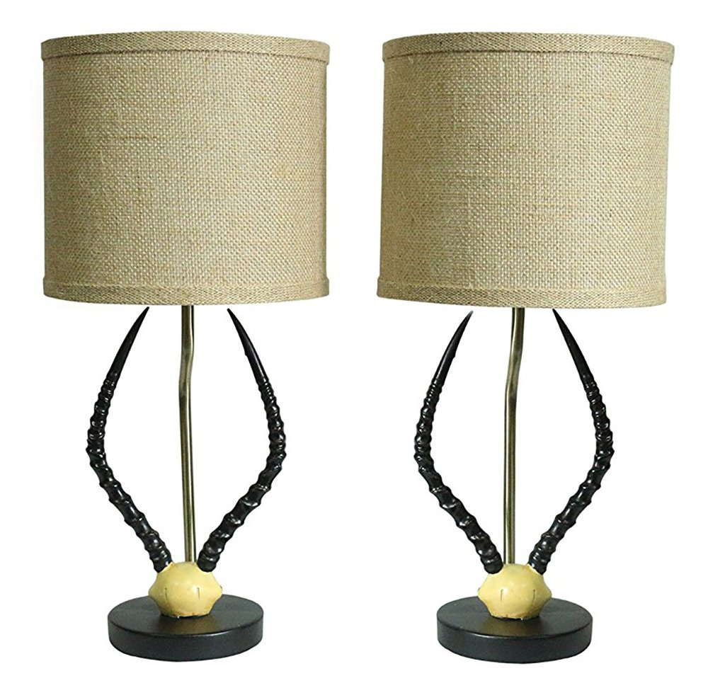 Urbanest Set of 2 Cody Horn Table Lamps with Shades