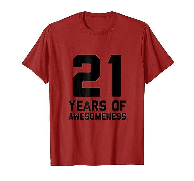 Mens 21st Birthday Shirt Gift Men Women Age 21 Year Son Daughter 2XL Cranberry