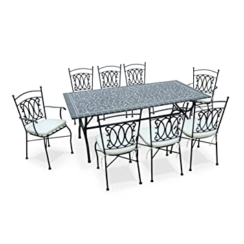 alices garden salon de jardin table 200cm 8 places mosaque granit zellige style ceramique - Salon De Jardin Zellige