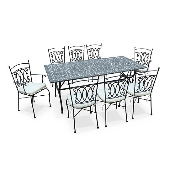 Alice\'s Garden - Salon de jardin table 200cm 8 places - mosaïque ...
