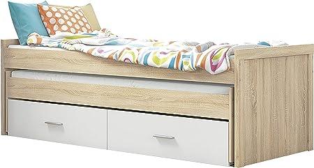 HomeSouth - Cama Nido Juvenil con Dos Camas y Dos Cajones, Cama para habitación y/o Dormitorio, Color Cambria y Blanco, Modelo Lara, Medidas: 200,5 cm (Largo) x 98 cm (Ancho) x 72 cm (Alto)