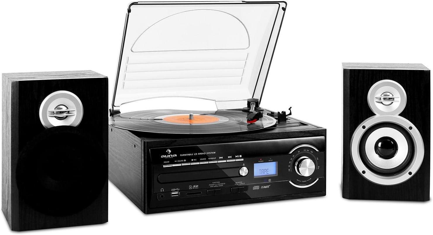auna TT-190 cadena estéreo con tocadiscos (MP3, CD, USB, SD ...