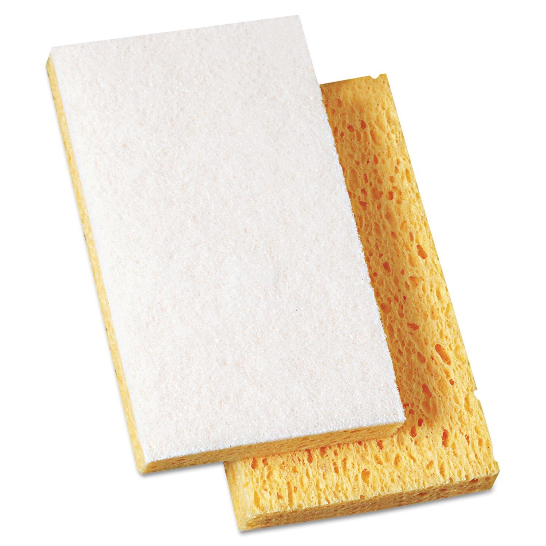 Boardwalk 16320 Scrubbing Sponge, 3 3/5'' x 6 1/10'', 7/10'' Thick, Yellow/White (Case of 20)