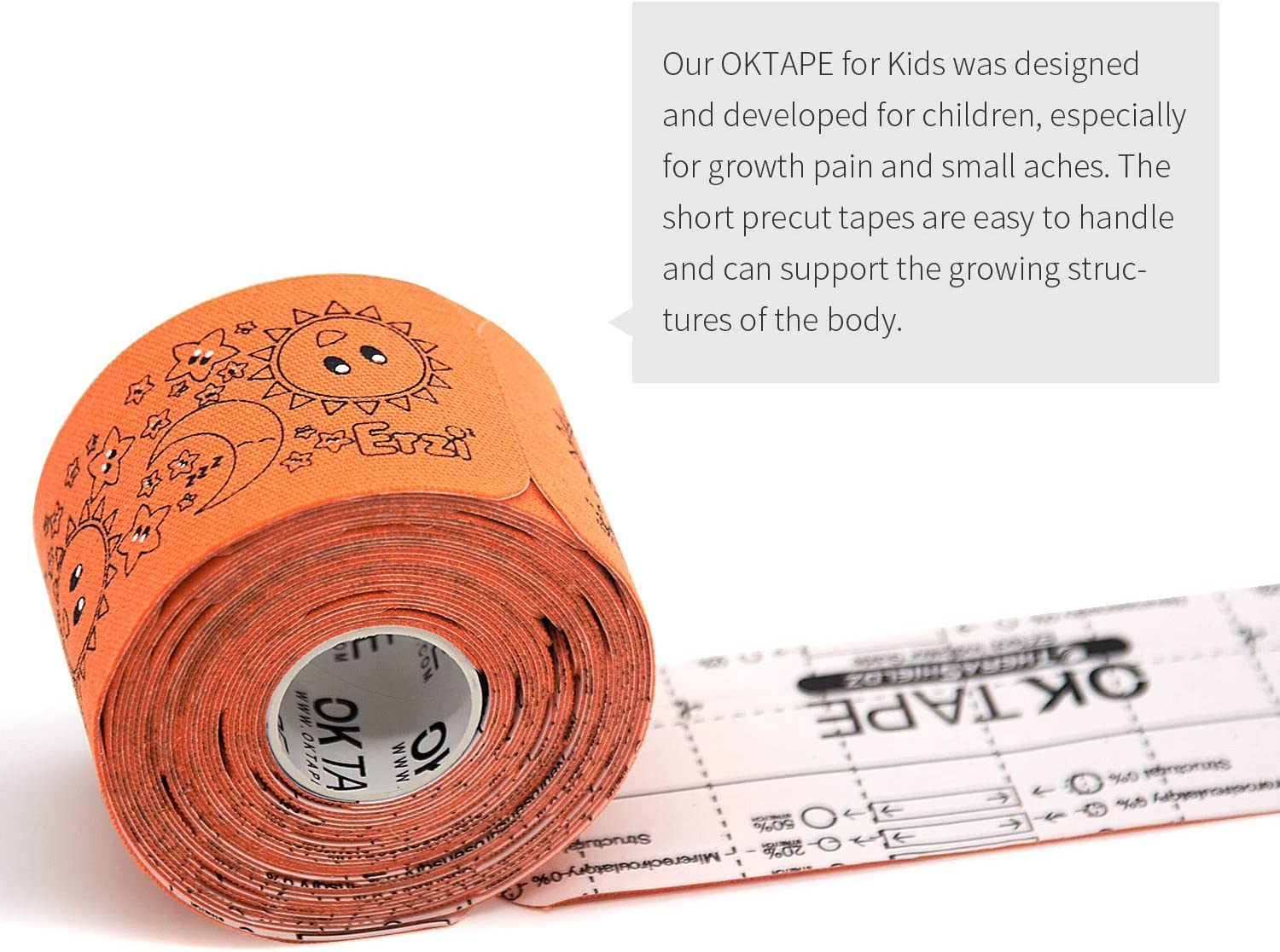 OK TAPE Kid Sport Kinesiology Tape Designed for Kid/&Teenage Hypoallergenic for Sensitive Skin Precut Tape for Sports Supply,Easy Removal No Harm to Skin 5.9 Inches 32 Strips 1 Roll