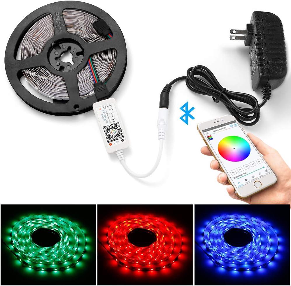 Bluetooth Control Wireless Smart RGB LED Strip Lights USB Sync w// Music Decor US