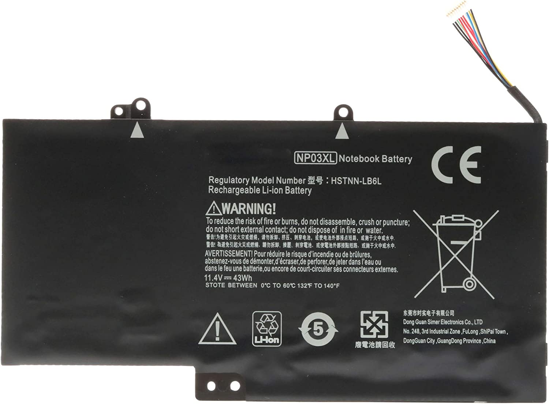 11.4V 43Wh NP03XL Laptop Battery for HP Envy X360 15-U010DX 15-U011DX 15-U110DX 15-U111DX,HP Pavilion X360 13-A010DX 13-A012DX 13-A013CL 13-A110DX,Fits P/N:761230-005 760944-421-18 HSTNN-LB6L TPN-Q146