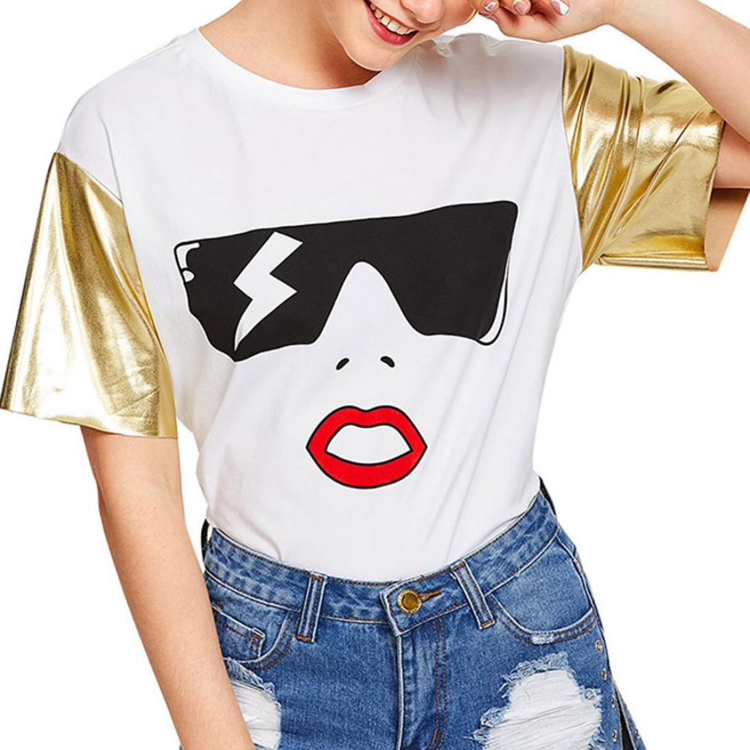 Outsta Women Fashion Marilyn Monroe's Golden Short Sleeve Print Loose Summer Casual Blouse Top Shirts