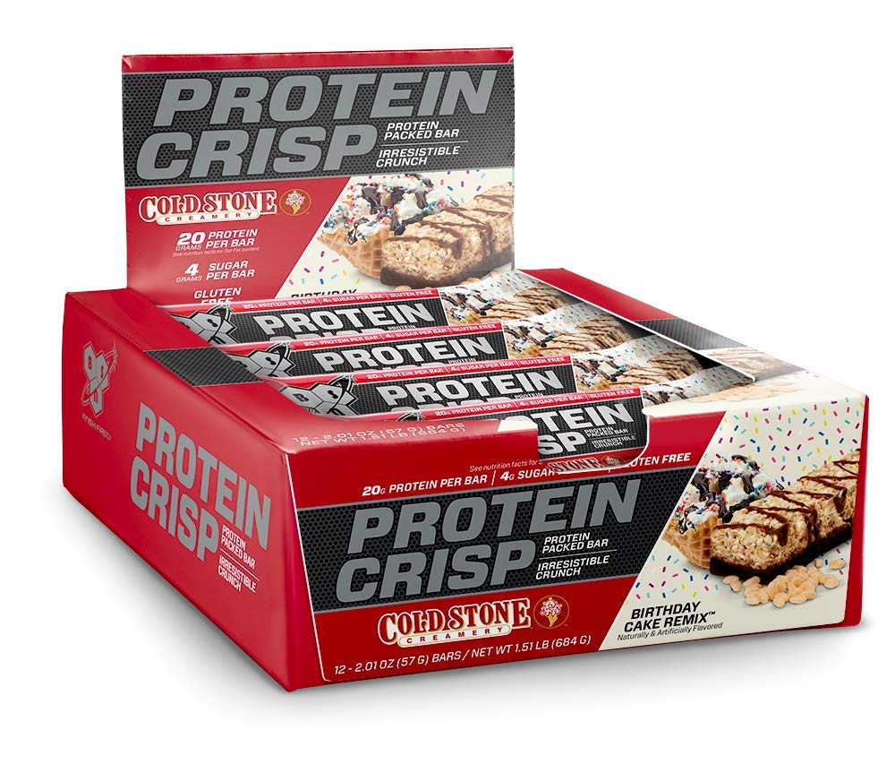 BSN Protein Crisp Bar by Syntha-6, Low Sugar Whey Protein Bar, 20g of Protein, Birthday Cake Remix, 12 Count by BSN