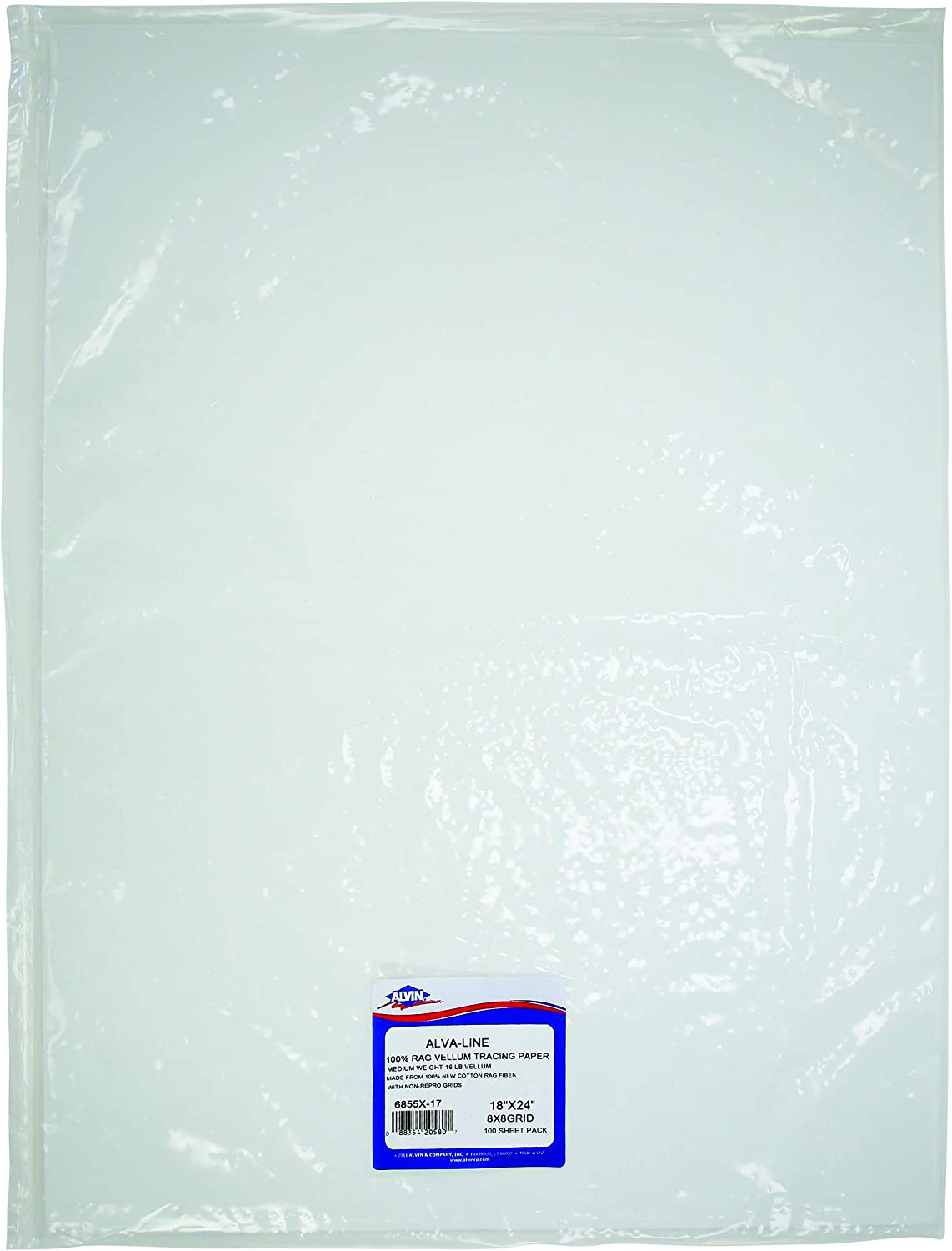 """Alvin, 6855X-17, 100% Rag Vellum Tracing Paper 8x8 Grid, For Drawing Use - 18"""" x 24"""", Pack of 100 Sheets"""