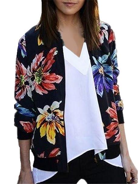 Aivosen Chaqueta Delgada Mujer Bonitas Manga Larga Flores Impresión Elegante Jacket Hipster Top Sudaderas Vintage Outwear: Amazon.es: Ropa y accesorios