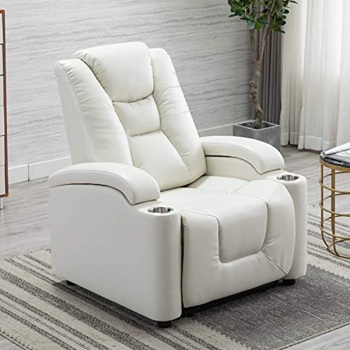 EBELLO Breathable Leather Gel Electric Power Recliner Headrest, Home Theater Chair with Cup Holder Storage White