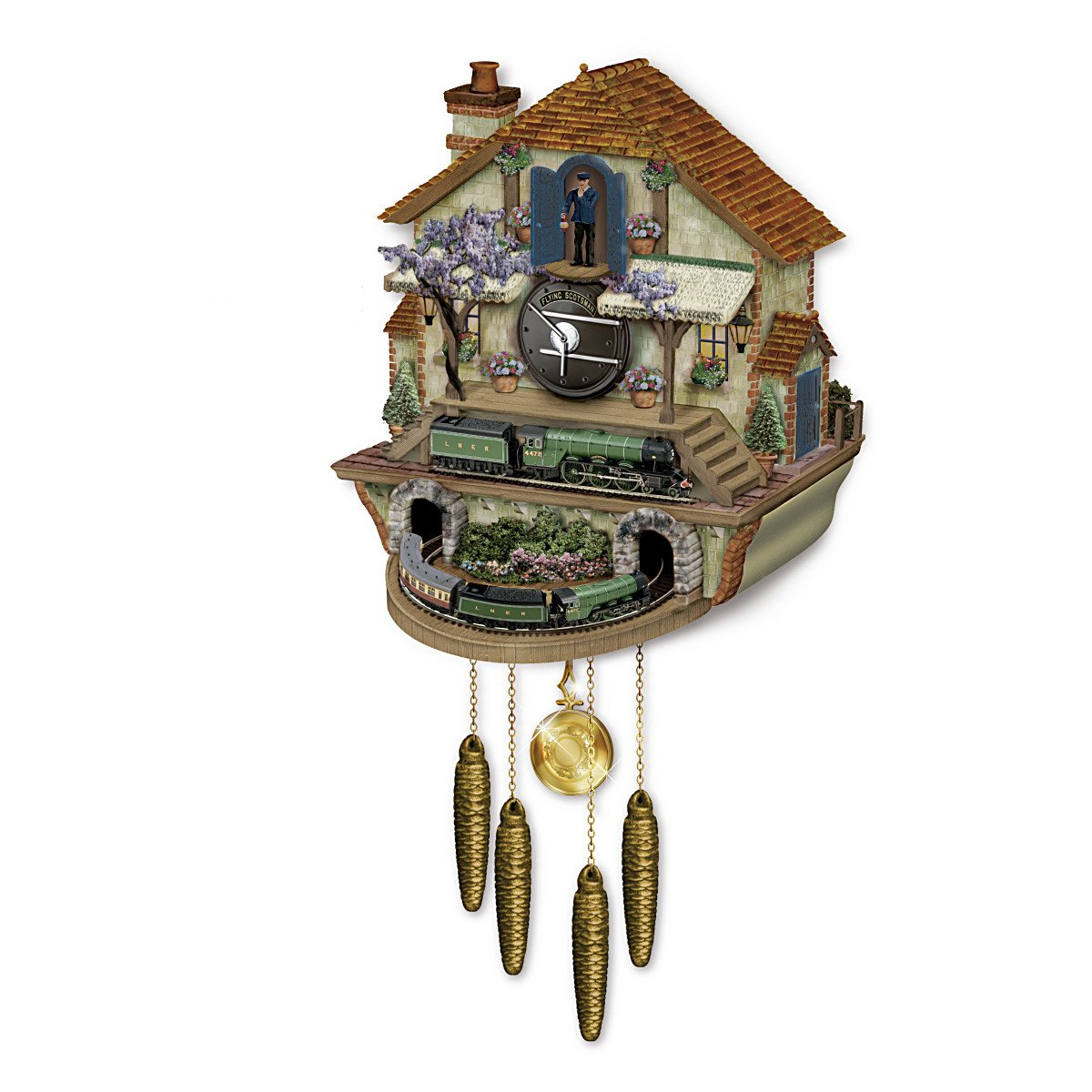 Steam Engine Train Cuckoo Clock: The Flying Scotsman Memories Of Steam by The Bradford Exchange by Bradford Exchange